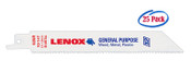 Lenox 12 x 3/4 x .05 General Purpose Bi-Metal Reciprocating Saw Blades, 10/14 TPI (25/Bulk Pkg.)