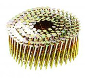 "2-1/4"" x .113"" 15-Degree Wire Coil Nails - Bright Coated, Ring Shank (1,000 Pcs./Box)"