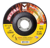 "4-1/2"" x 1/8"" x 5/8"" - 11 A24S T27 Depressed Center Pipe Cutting and Grinding Wheel - Single Grit, Mercer Abrasives 620050 (20/Pkg.)"