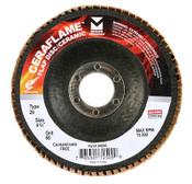 """CeraFlame Type 29 Premium Ceramic Flap Discs - 4-1/2"""" x 7/8"""", Grit: 80, Mercer Abrasives 349080 (10/Pkg.)"""