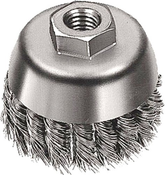 "Knot Cup Brushes for Right Angle Grinders - Carbon Steel - 2-3/4"" x 5/8""-11, Mercer Abrasives 189010B (10/Bulk Pkg.)"