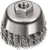 "Knot Cup Brushes for Right Angle Grinders - Carbon Steel - 5"" x 5/8""-11, Mercer Abrasives 189080B (10/Bulk Pkg.)"