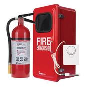 5 lb ABC Pro Line Fire Extinguisher w/ Firetech™ Fiberglass Cabinet, and Cabinet Alarm, White
