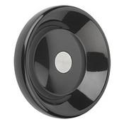 Kipp 100 mm x 8 mm ID Disc Handwheel without Handle, Duroplastic/Steel, Size 1, Style D - Pilot Hole (1/Pkg.), K0165.0125X08