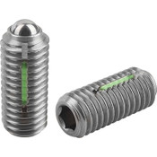 "Kipp 1/4""-20 Spring Plungers, LONG-LOK, Ball Style, Hexagon Socket, Stainless Steel, Standard End Pressure (10/Pkg.), K0326.A2"
