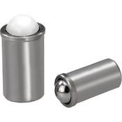 Kipp 12 mm Spring Plungers, Push Fit Extended, Stainless Steel/Ball POM (25/Pkg.), K0333.412
