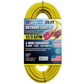 US Wire & Cable Yellow Outdoor Lighted Extension Cord, 12/3 SJTW, 25 ft, 74025 (1/Pkg.)
