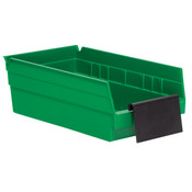 Extended Label Holder for Shelf Bin, Black, 24/Pkg