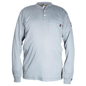 Max Comfort FR Long Sleeve Henley Shirt, Gray, Medium