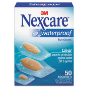3M Nexcare Waterproof, Clear Bandages, Assorted Sizes, 50/Box