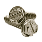 "#10 x 1"" Slotted Hex Washer Head Self Tapping Screws Type A, 316 Stainless Steel (500/Pkg.)"