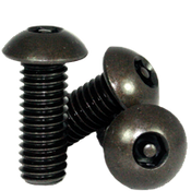 "#10-32 x 1/2"",(FT) Button Head Socket Cap Tamper Resistant Screw with Pin, Alloy Black Oxide (100/Pkg.)"