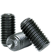"#10-32x1 1/4"" Knurled Cup Point Socket Set Screws, Thermal Black Oxide (100/Pkg.)"