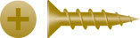 "#6x3/4"" Phillips Flat Head Particle Board Screws, Hinge Screw, Antique Brass (20,000/Bulk Pkg.)"