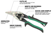 Right Cut Proferred Aviation Snips, Tpr Grip