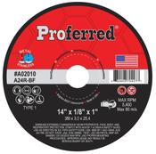 "14"" x 1/8"" x 1"" Type 1 C24R Abrasive Portable High Speed, Gas Saw Wheels (10/Pkg)"