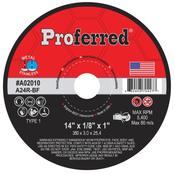 "14"" x 1/8"" x 1"" Type 1 A24R Abrasive Portable High Speed, Gas Saw Wheels (10/Pkg)"