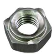 M6X1.00-6H Hex Weld Nut, Short Pilot, 3 Projections, Plain Steel (3500/Bulk Pkg.)