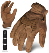 S - EXO Tactical Impact Coyote w/Flashlight | EXOT-ICOY-02-S | IRONCLAD TACTICAL GLOVES (12/Pkg.)