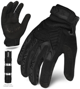 L - EXO Tactical Impact Black w/Flashlight | EXOT-IBLK-04-L | IRONCLAD TACTICAL GLOVES (12/Pkg.)