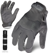 L - EXO Tactical Operator Grey w/Flashlight | EXOT-GGRY-04-L | IRONCLAD TACTICAL GLOVES (12/Pkg.)