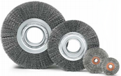 "3 x 1/2-3/8 Crimped Wheel Brush, .012"" Stainless Steel Wire (10/Pkg.)"
