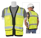2X-Large S251 Lime ANSI Class 2 Mesh Surveyor's Vest w/Clipboard Pouch & Grommets. Hi-Viz Lime - Zipper
