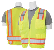 2X-Large S380 Lime ANSI Class 2 Surveyor's Vest Oxford & Mesh Hi-Viz Lime - Zipper