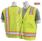 2X-Large S380SC Lime ANSI Class 2 Surveyor's Vest Oxford & Mesh Hi-Viz Lime/Contrasting Trim - Zipper