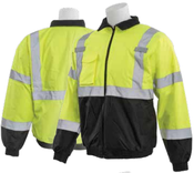 3X-Large W105 Lime & Black ANSI Class 3 Bomber Jacket Oxford PU Coating Quilted Liner Hi-Viz Lime & Black - Zipper