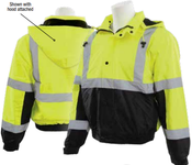 2X-Large W106T Lime & Black ANSI Class 3 Bomber Jacket Oxford PU Coating Fleece Liner Hi-Viz Lime & Black - Zipper