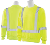 2X-Large W143 Lime ANSI Class 3 Crew Neck Sweatshirt Hi-Viz Lime - Pull-Over