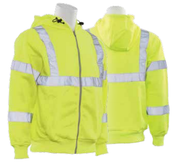 3X-Large W375 Lime ANSI Class 3 Hooded Sweatshirt Polyester Fleece Hi-Viz Lime - Zipper