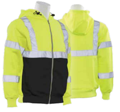 2X-Large W375B Lime &  Black ANSI Class 3 Sweatshirt Hi Viz Lime & Black - Zipper