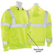 3X-Large W376 Lime ANSI Class 3 Hooded Sweatshirt 7oz Polyester Fleece Hi-Viz Lime - Pull Over