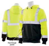 2X-Large W376B Lime & Black ANSI Class 3 Hooded Sweatshirt Hi-Viz Lime & Black - Pull Over