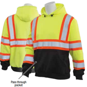 2X-Large W376BC Lime & Black ANSI Class 3 Hooded Sweatshirt Hi-Viz Lime & Black/Contrasting Trim - Pull Over