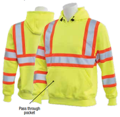 2X-Large W376C Lime & Black ANSI Class 3 Hooded Sweatshirt Hi-Viz Lime/Contrasting Trim - Pull Over