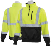 3X-Large W379B Lime & Black ANSI Class 3 Sweatshirt 1/4 Zip Hi-Viz Lime/Black - Pull Over/Zip