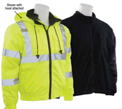 3X-Large W510 Lime ANSI Class 3 Bomber Jacket Oxford w/PU Coating, Removable Fleece Liner Hi-Viz Lime - Zipper
