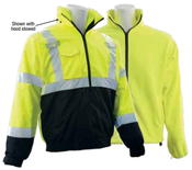 3X-Large W530B Lime ANSI Class 3 3-n-1 Bomber Jacket, Removable Fleece Liner Hi-Viz Lime/Black Bottom - Zipper