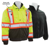 3X-Large W550 Lime ANSI Class 3 Contrasting Trim 3 n 1 Bomber Jacket Removable Fleece Liner Hi-Viz Lime & Black- Zipper