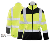 3X-Large W651 Lime ANSI Class 2 Women's Soft Shell Jacket Hi-Viz Lime & Black - Zipper