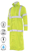4X-Large S163 Lime ANSI Class 3 Long Rain Coat Hi-Viz Lime - Zipper