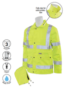 2X-Large S371 Lime ANSI Class 3 Raincoat Oxford PU Coating 8.6mm Hi-Viz Lime - Zipper