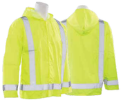 3X/4X S373 Lime ANSI Class 3 Lightweight Oversized Raincoat Oxford PU Coating 5.5mm Hi-Viz Lime - Snap
