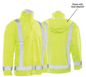 3X/4X S373D Lime ANSI Class 3 Lightweight Oversized Raincoat Oxford PU Coating w/Detachable Hood Hi-Viz Lime - Snap