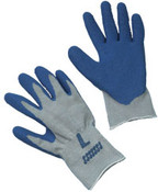 Blue Latex Coated String Crinkle Finish Gloves,  EXTRA-LARGE (12/Pairs)