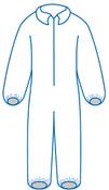 3XL PC 125 White - Zipper Front, Elastic Wrist & Ankles, Bulk packed (25/Pkg)