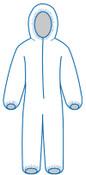 3XL PC 127 White - Zipper Front, Elastic Wrist & Ankles, Hooded, Bulk packed (25/Pkg)